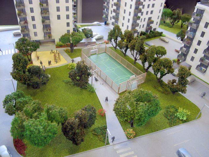 Farebný prezentačný model bytového komplexu s nasvietením objektov modelu