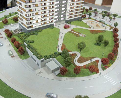 Farebný prezentačný model bytovej veže s nasvietením veže modelu