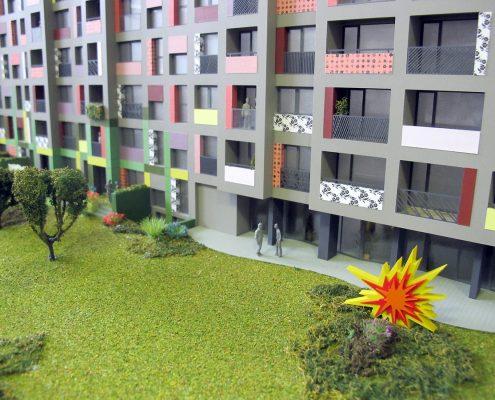 Farebný prezentačný model bytového objektu