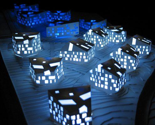 monochromatický model bytových domov Podkolibská