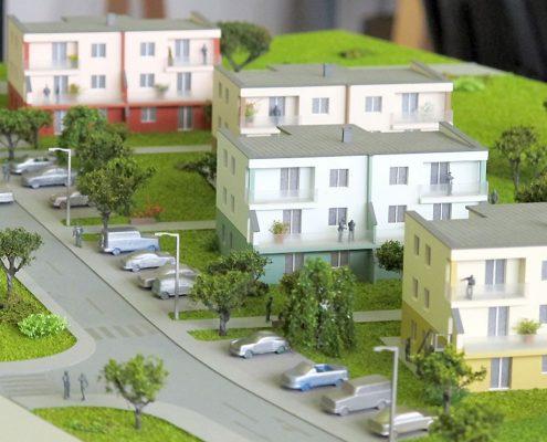 Farebný prezentačný model bytového komplexu villadomov