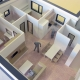 Rozoberateľný plnofarebný model Trojbytovej vily s ukážkou vnútornej dispozície poschodí objektu.