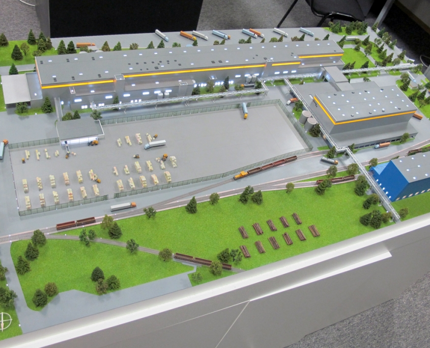 Mondi SCP, detailný farebný model priemyselného areálu s nasvietením objektov modelu