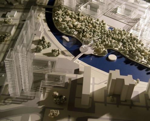 Urbanistický monochromatický model architektonického riešenia mestskej časti v Bratislave – Petržalke.