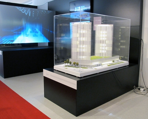 Farebný prezentačný model bytového komplexu snasvietením