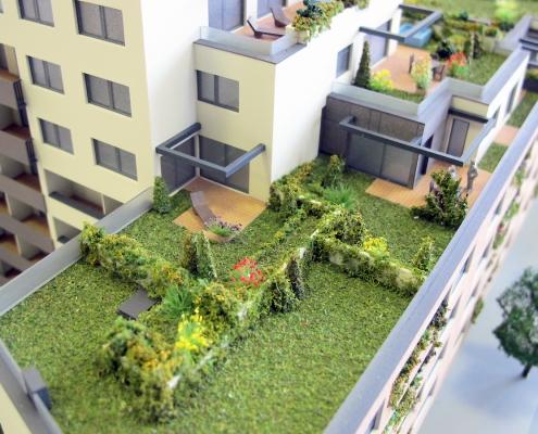 Farebný etapový model bytového akancelárskeho objektu s nasvietením