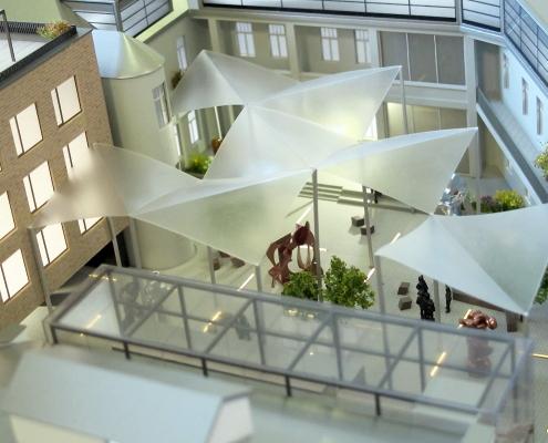 Farebný detailný model administratívneho, historických a bytových objektov s nasvietením