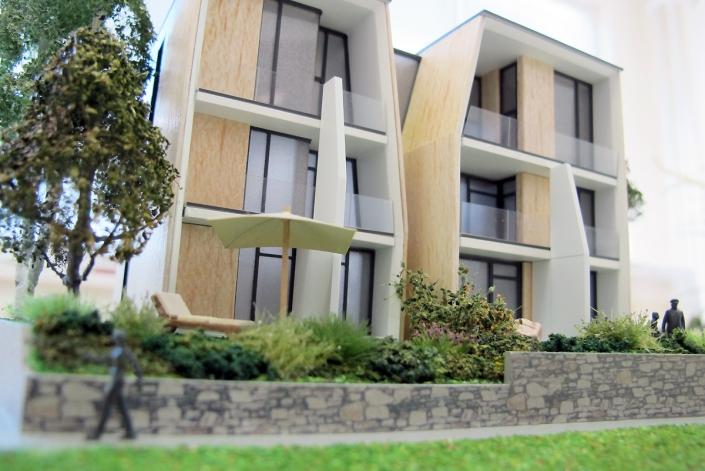 Farebný prezentačný model apartmánového domu