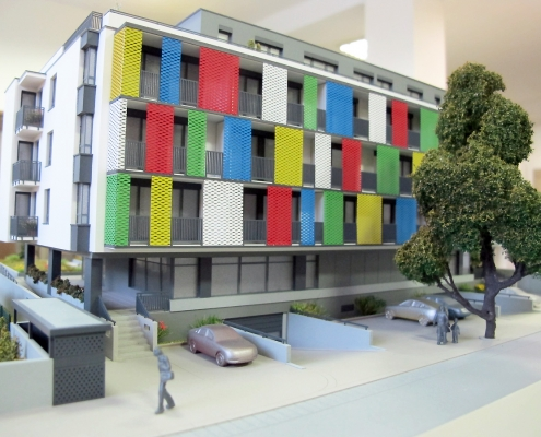 Farebný prezentačný model bytového domu