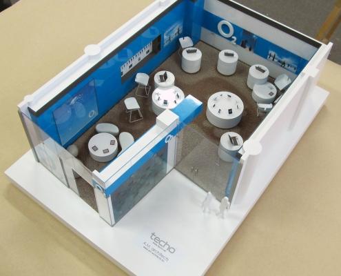 Farebný dizajnový model interiéru predajne