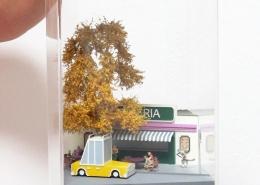 Mini model situácie na terase reštaurácie