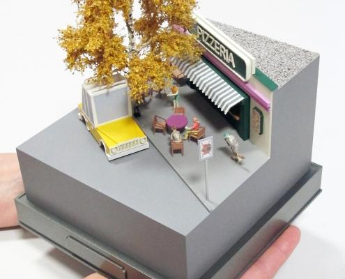 Mini model situácie na terase Pizzerie pod brezou