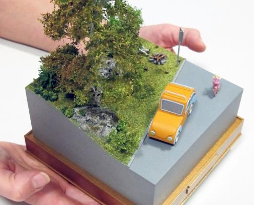 Mini model situácie pri lese, piknik pri ohnisku